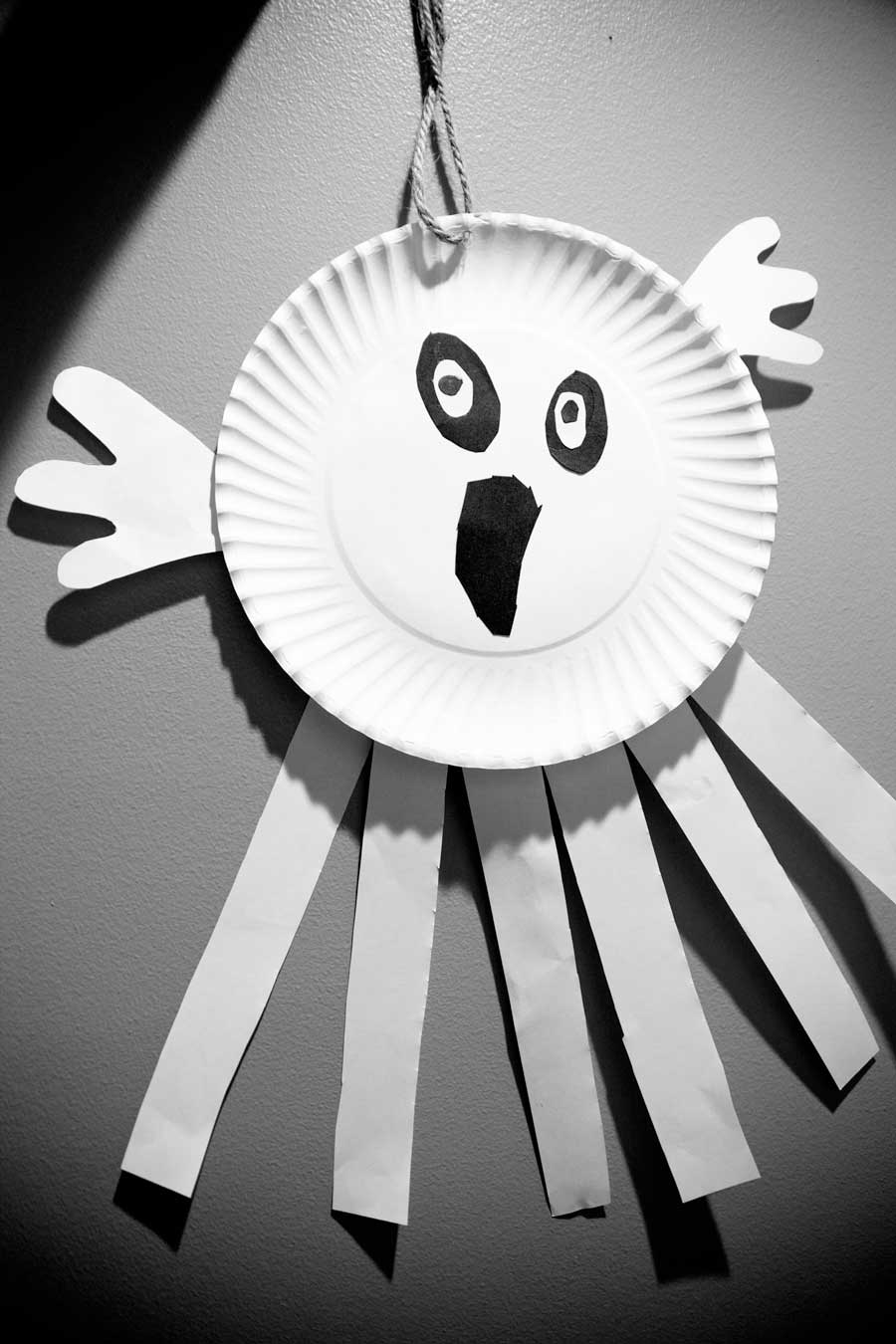 halloween craft paper plate ghost decorations the not so it